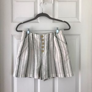 striped Anthropologie shorts